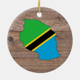 Karta för lagtanzania flagga på trä julgransprydnad keramik