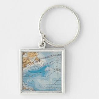 Karta för norr Atlantic Ocean Fyrkantig Silverfärgad Nyckelring