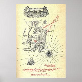 Karta för Robert Louis Stevensons skattö Poster