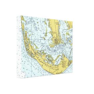 Karta för Sanibel övintage Canvastryck