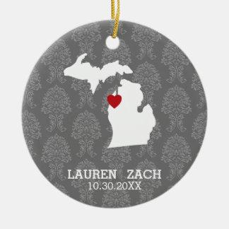Karta för stad för Michigan hem statlig - Julgransprydnad Keramik