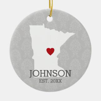 Karta för stad för Minnesota hem statlig - Rund Julgransprydnad I Keramik