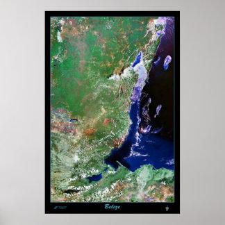 Karta för tryck för Belize satellit- affischfoto