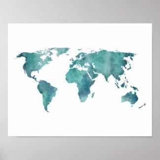 Karta för turkosvattenfärgvärld poster