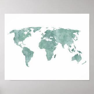 Karta för värld för vattenfärg för ökenmintgrönt poster