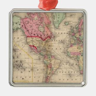 Karta för världsMercator proj av Mitchell Julgransprydnad Metall