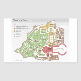Karta för Vatican City orienteringsdiagram Rektangulärt Klistermärke