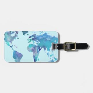 Karta för vattenfärgblåttvärld bagagebricka