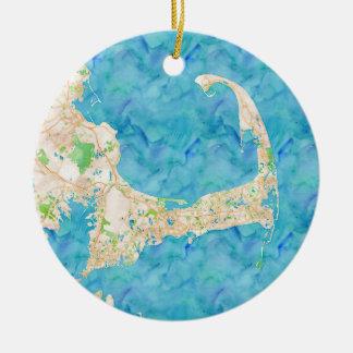 Karta för vattenfärguddtorsk julgransprydnad keramik
