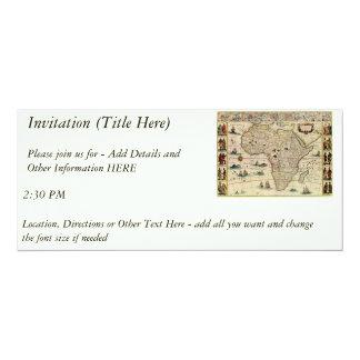 Karta för vintage1660'safrika av Willem Janszoon 10,2 X 23,5 Cm Inbjudningskort