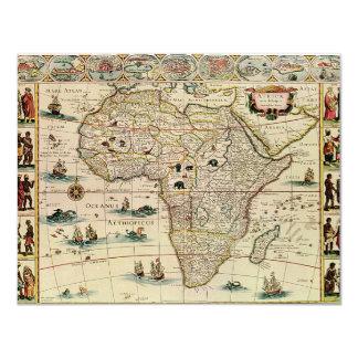 Karta för vintage1660'safrika av Willem Janszoon 10,8 X 14 Cm Inbjudningskort