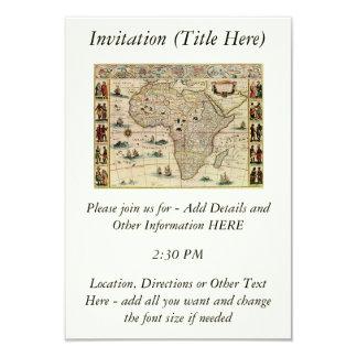 Karta för vintage1660'safrika av Willem Janszoon 8,9 X 12,7 Cm Inbjudningskort