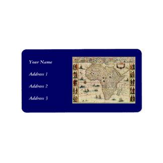 Karta för vintage1660'safrika av Willem Janszoon Adressetikett