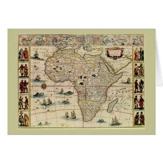 Karta för vintage1660'safrika av Willem Janszoon Hälsningskort