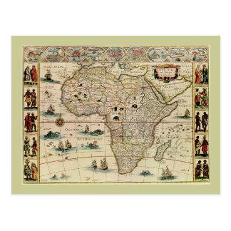 Karta för vintage1660'safrika av Willem Janszoon Vykort