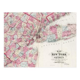 Karta för vintage 1868 av New York Vykort