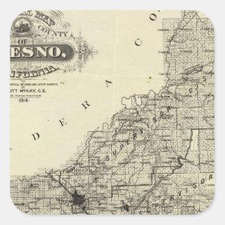 Karta Fresno County, Kalifornien Fyrkantigt Klistermärke