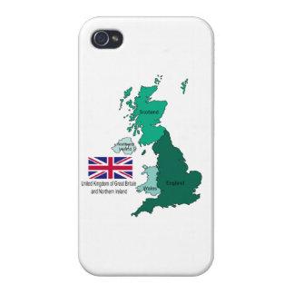Karta och flagga av Förenade kungariket iPhone 4 Fodral