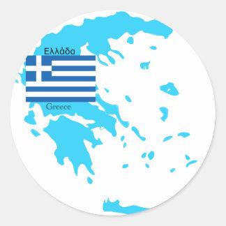 Karta och flagga av Grekland Runda Klistermärken