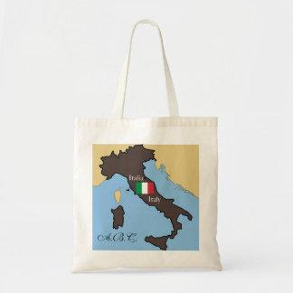Karta och flagga av italien budget tygkasse
