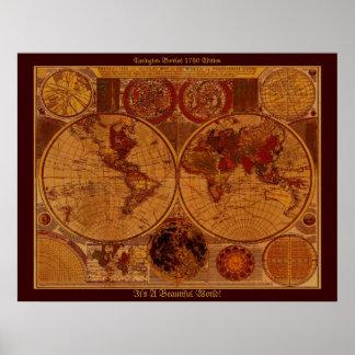 Kartakonst för gammal värld 1780 poster