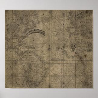 Kartan av bukten strömmer och det Antlantic hav 17 Poster