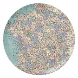 Kartan av frankriken pläterar tallrik