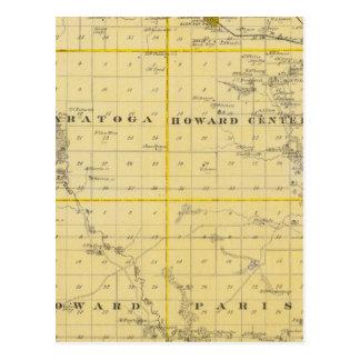Kartan av Howard County, påstår av Iowa Vykort