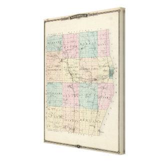 Kartan av Sheboygan County, påstår av Wisconsin Canvastryck