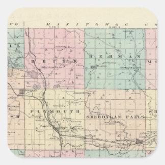 Kartan av Sheboygan County, påstår av Wisconsin Fyrkantigt Klistermärke