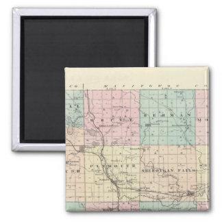 Kartan av Sheboygan County, påstår av Wisconsin Magnet