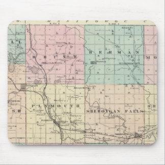 Kartan av Sheboygan County, påstår av Wisconsin Musmatta