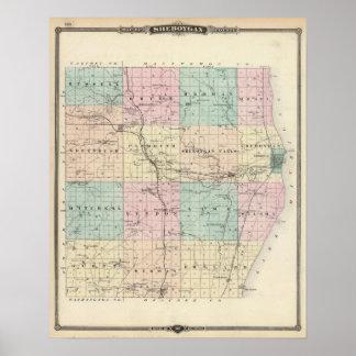 Kartan av Sheboygan County, påstår av Wisconsin Poster