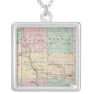 Kartan av Sheboygan County, påstår av Wisconsin Silverpläterat Halsband