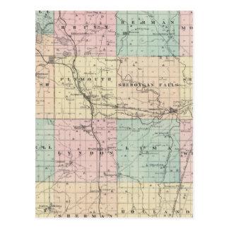 Kartan av Sheboygan County, påstår av Wisconsin Vykort
