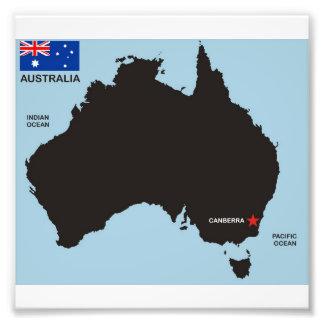 kartan för den Australien landsvarten formar flagg Fototryck