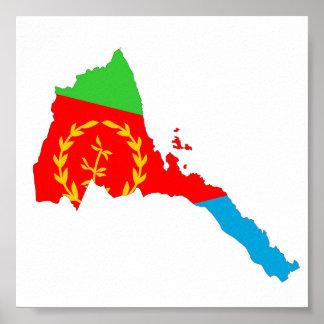 Kartan för den Eritrea landflagga formar Poster