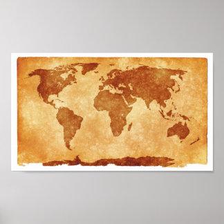 Kartan för den gammala världen värderar affischpap print