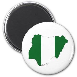 kartan för den nigeria landflagga formar symbol magnet