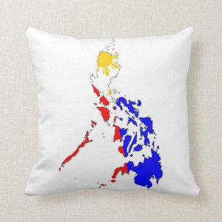 kartan för den philippines landflagga formar kudde