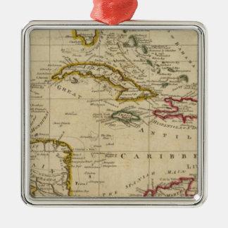 Kartlägga av de västra Indiesna 3 Julgransprydnad Metall