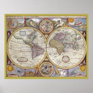 Kartlägger den gammala världen för vintage den poster