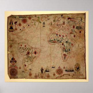 Kartlägger det Atantic hav 1633 Portolan - Pascoal Poster