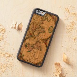 Kartor för gammal värld carved körsbär iPhone 6 bumper skal