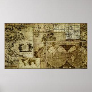 Kartor för gammal värld för vintage (LRG HI RES) Poster