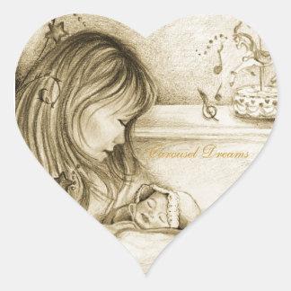 Karusellen drömm hjärtaklistermärkear hjärtformat klistermärke