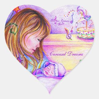 Karusellen drömm hjärtformade klistermärkear hjärtformat klistermärke