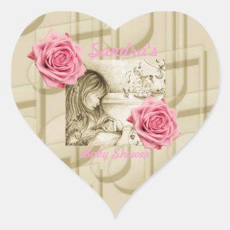 Karusellen drömm rosa ros & hjärtformat klistermärke