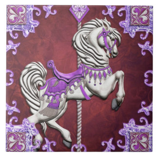 Karusellhäst, Amethyst glädje - stora keramiska Kakelplatta