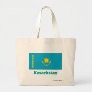 Kasachstan Flagge mit Namen Tote Bags